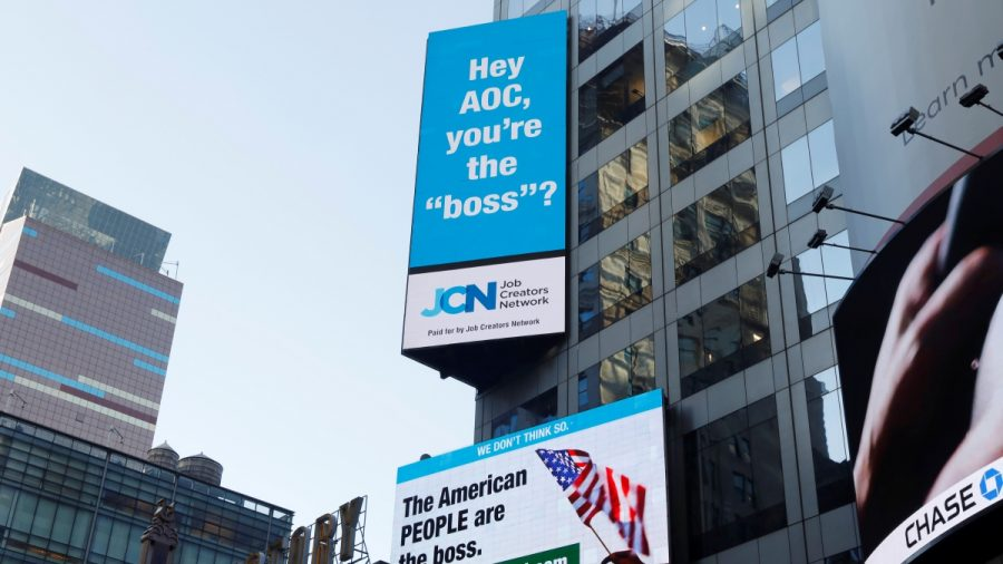 Billboard in Times Square Reminds Ocasio-Cortez: 'The American PEOPLE are the Boss'
