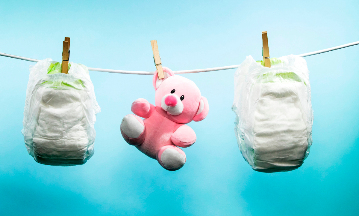 Baby diapers and toy