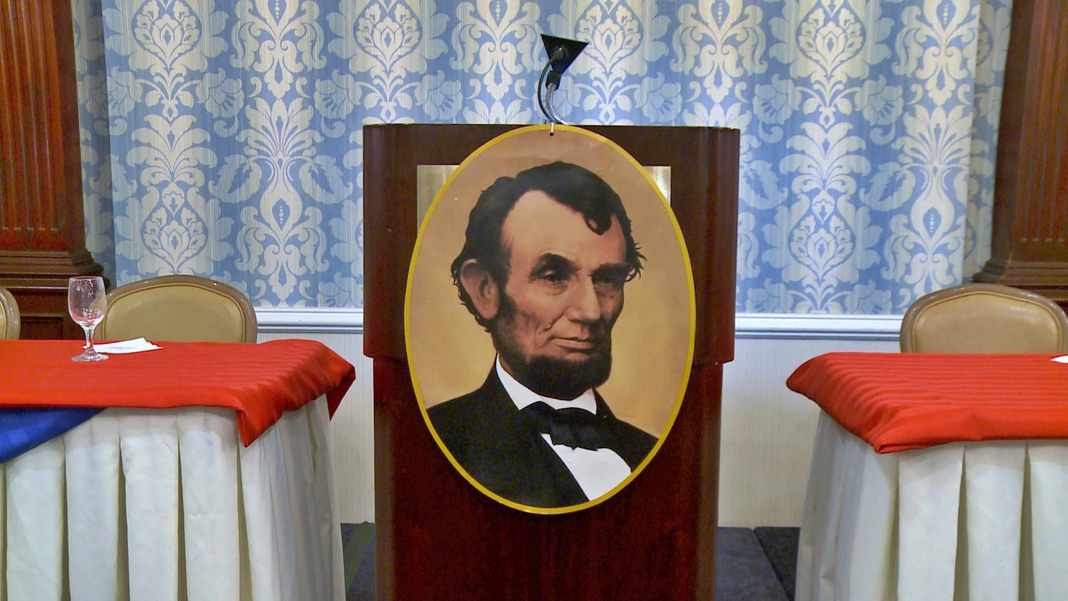 Podium at the 144th Anniversary Lincoln Dinner