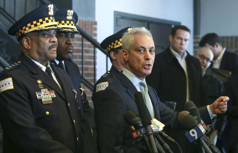 """Chicago Mayor Rahm Emanuel, right, and Chicago Police Superintendent Eddie Johnson appear at a news conference in Chicago, Tuesday, March 26, 2019, after prosecutors abruptly dropped all charges against """"Empire"""" actor Jussie Smollett, abandoning the case barely five weeks after he was accused of lying to police about being the target of a racist, anti-gay attack in downtown Chicago. The mayor and police chief blasted the decision and stood by the investigation that concluded Smollett staged a hoax. (AP Photo/Teresa Crawford)"""