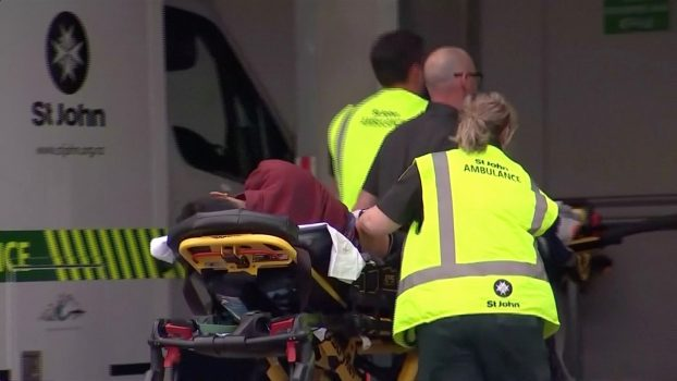 Emergency services personnel take a person into a hospital,