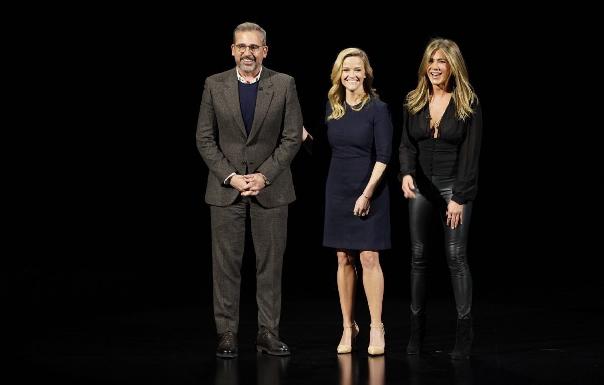 Steve Carell, Reese Witherspoon and Jennifer Aniston at the Steve Jobs Theater