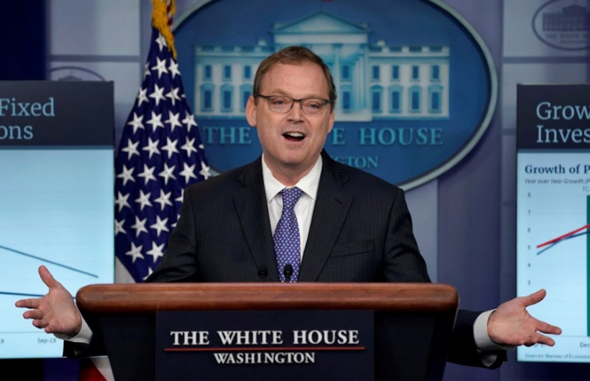 Trump adviser Hassett speaks during a news briefing at the White House in Washington
