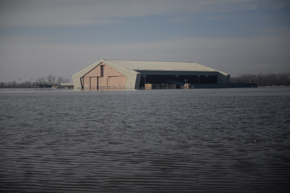 One of many areas near the southeast side of Offutt Air Force Base affected by flood waters is seen in Nebraska,