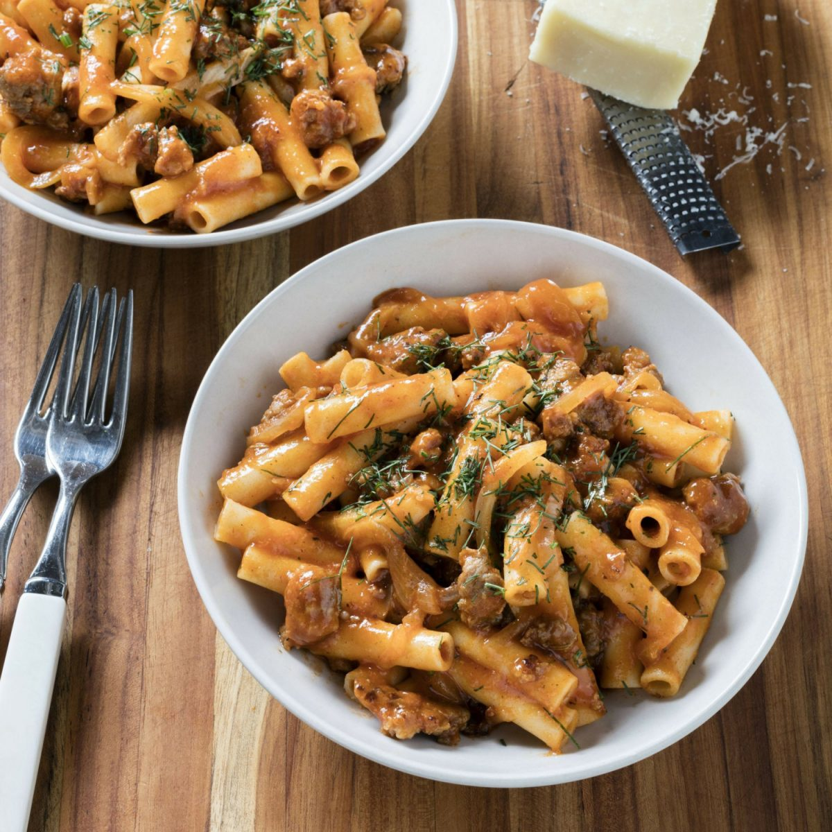 Ziti with Fennel and Italian Sausage in Brookline, Mass