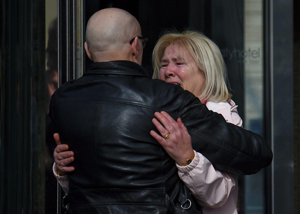 Linda Nash and campaigner Eamonn McCann react