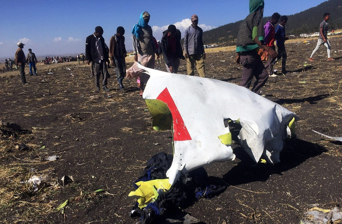 The wreckage of the Ethiopian Airlines plane.
