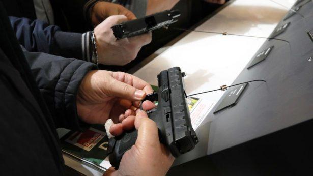 Gun enthusiasts at gun show