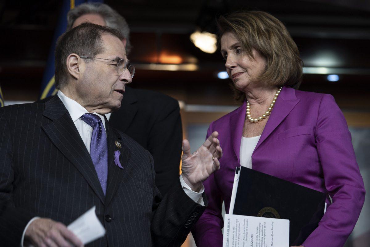 House Judiciary ranking member Jerry Nadler speaks with House Minority Leader Nancy Pelosi