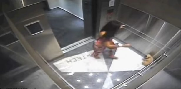 woman kicking dog in elevator