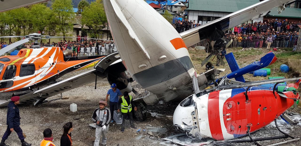 The site of an airplane crash is pictured in Lukla