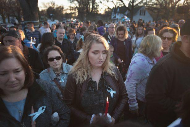 Vigil outside the home of A.J. Freund