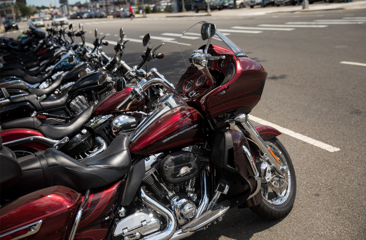 Rows of Harley-Davidson motorcycle