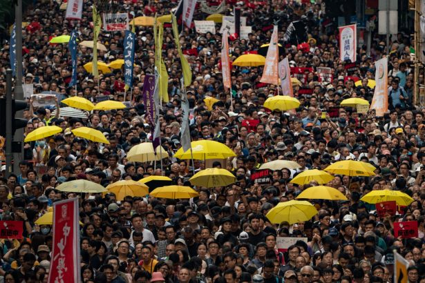 Protesters take part in a protest in Hong Kong