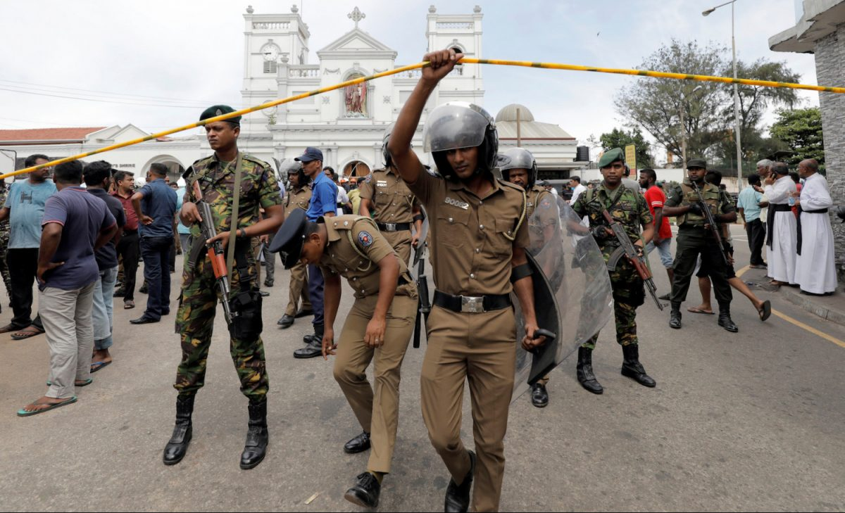 Sri Lankan military officials after Easter bombings