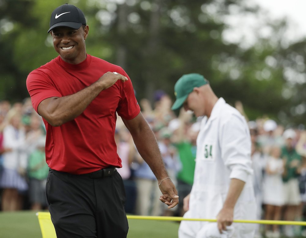 Tiger Woods reacts