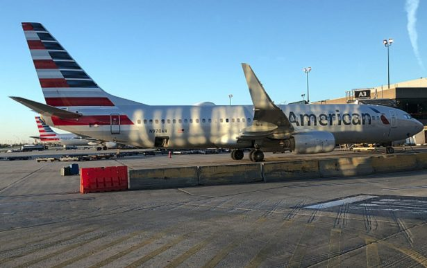An American Airlines plane sits on the tarmac at Philadelphia International Airport
