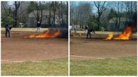 Video Shows Connecticut Baseball Field Being Doused in Gasoline, Set on Fire as Officials Blame 'Poor Decision'