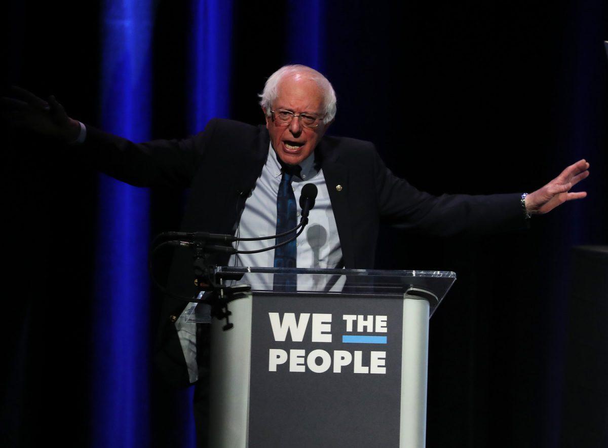 """Sen.Bernie Sanders(I-VT) speaks during the """"We the People"""" summit"""