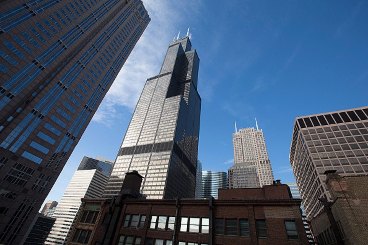The Willis Tower (C), formerly known as the Sears Tower