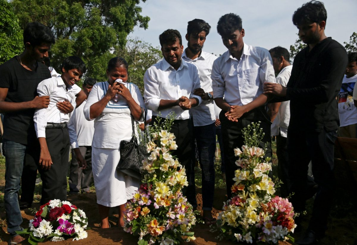 a mass burial of victims