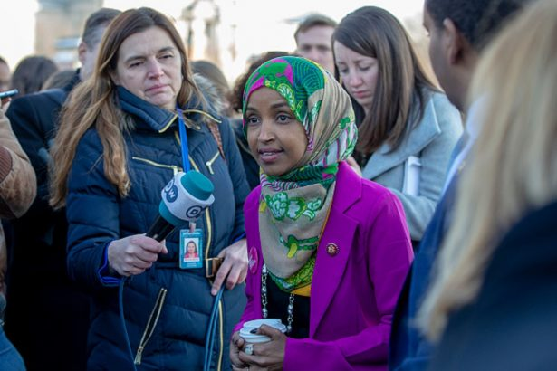 U.S. Rep Ilhan Omar (D-MN)speaks to media outside the US Captiol