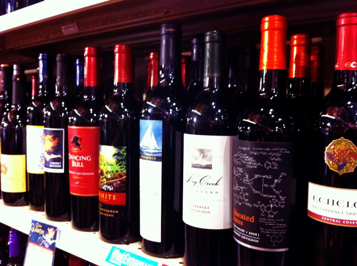 wines in shelves