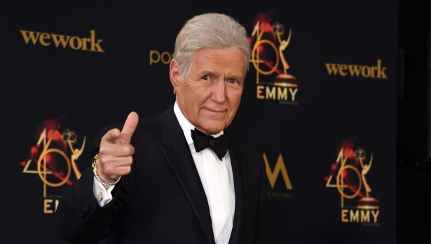 Alex Trebek poses in the press room during the 46th annual Daytime Emmy Awards