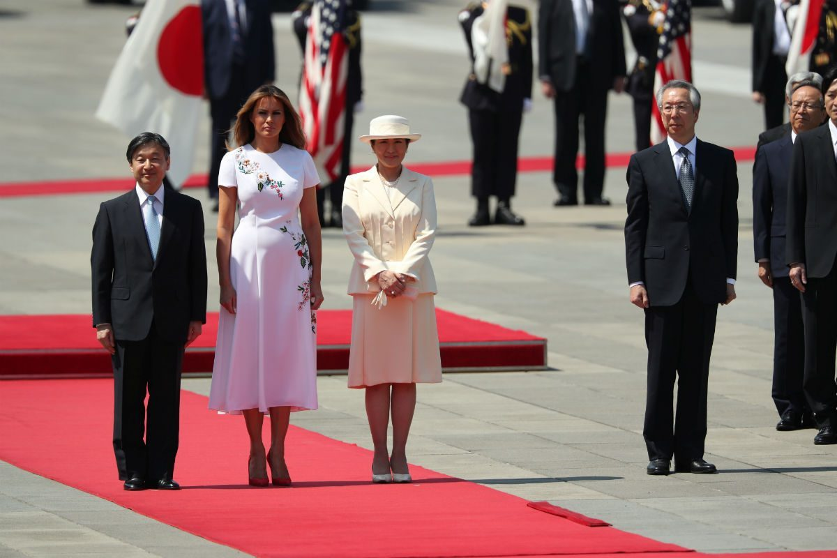 U.S. first lady Melania Trump stands next to Japan's Emperor Naruhito and Empress Masako