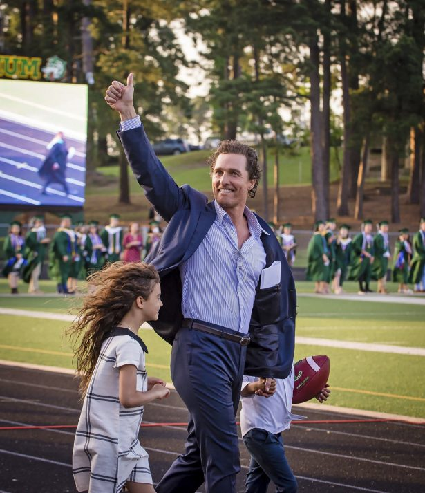 Actor and 1988 Longview High School graduate Matthew McConaughey takes the field with his children to deliver the commencement address