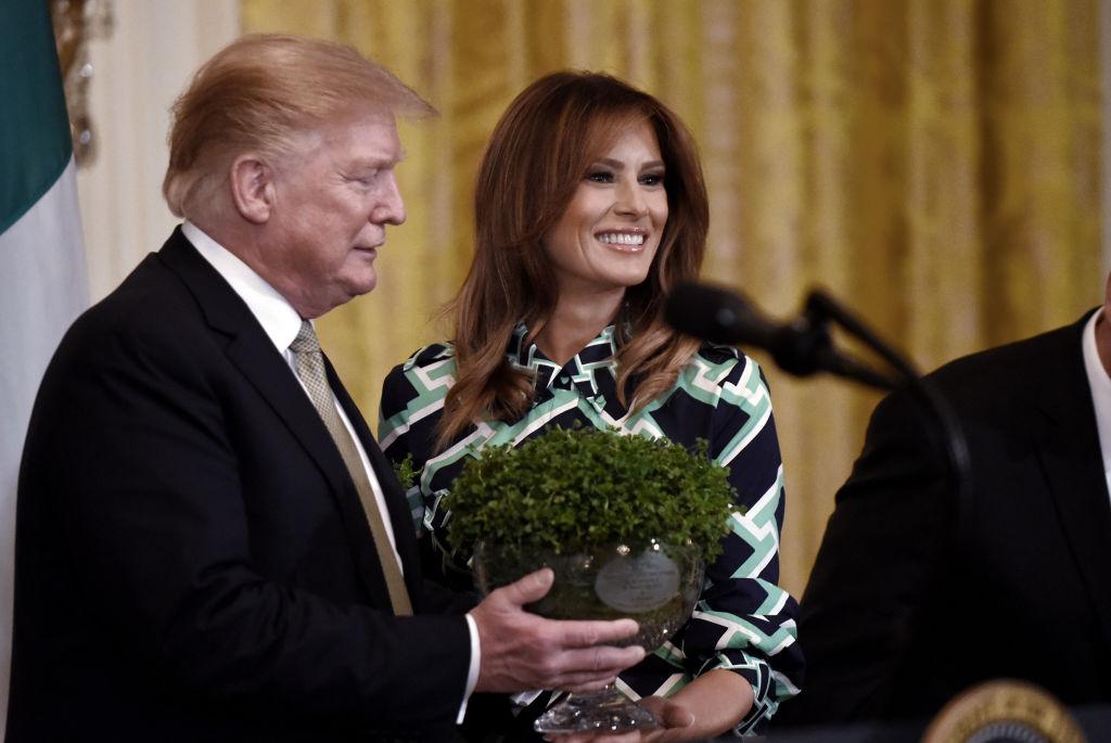 President Donald J. Trump and first lady Melania Trump pose