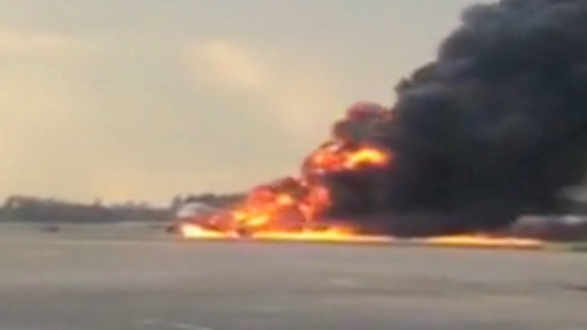 Russia airplane on fire