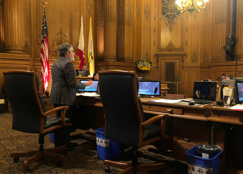 City Supervisor Aaron Peskin speaks before a vote on a surveillance technology ordinance that he sponsored, in San Francisco