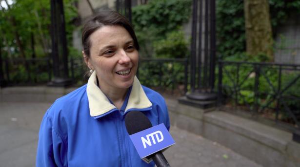 Falun Dafa practitioner Marija Dionizovik-Dimanovski says the practice helps improve her health and character. (Shenghua Song/NTD)