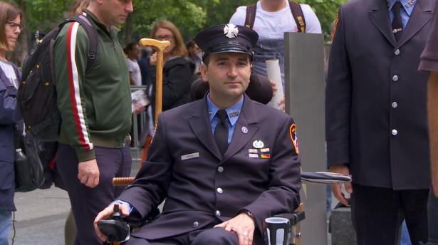 9/11 first responder Rob Serra at the Memorial Glade dedication ceremony.