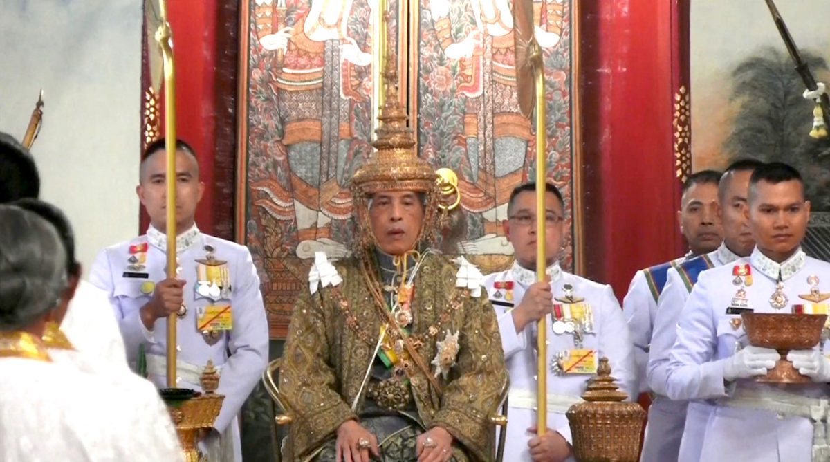 Thailand's King Maha Vajiralongkorn is crowned during his coronation in Bangkok