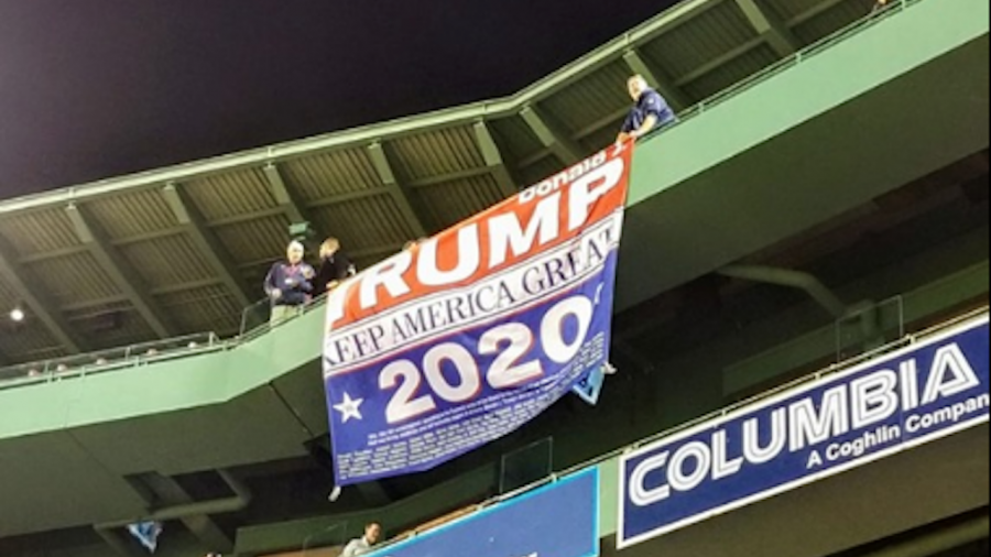 Trump Supporter Unfurls 'Keep America Great' Flag at Boston's Fenway Park, but It Gets Quickly Ripped Down