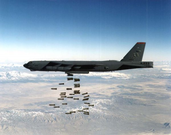 A U.S. Airforce B-52 Stratofortress heavy bomber drops bombs