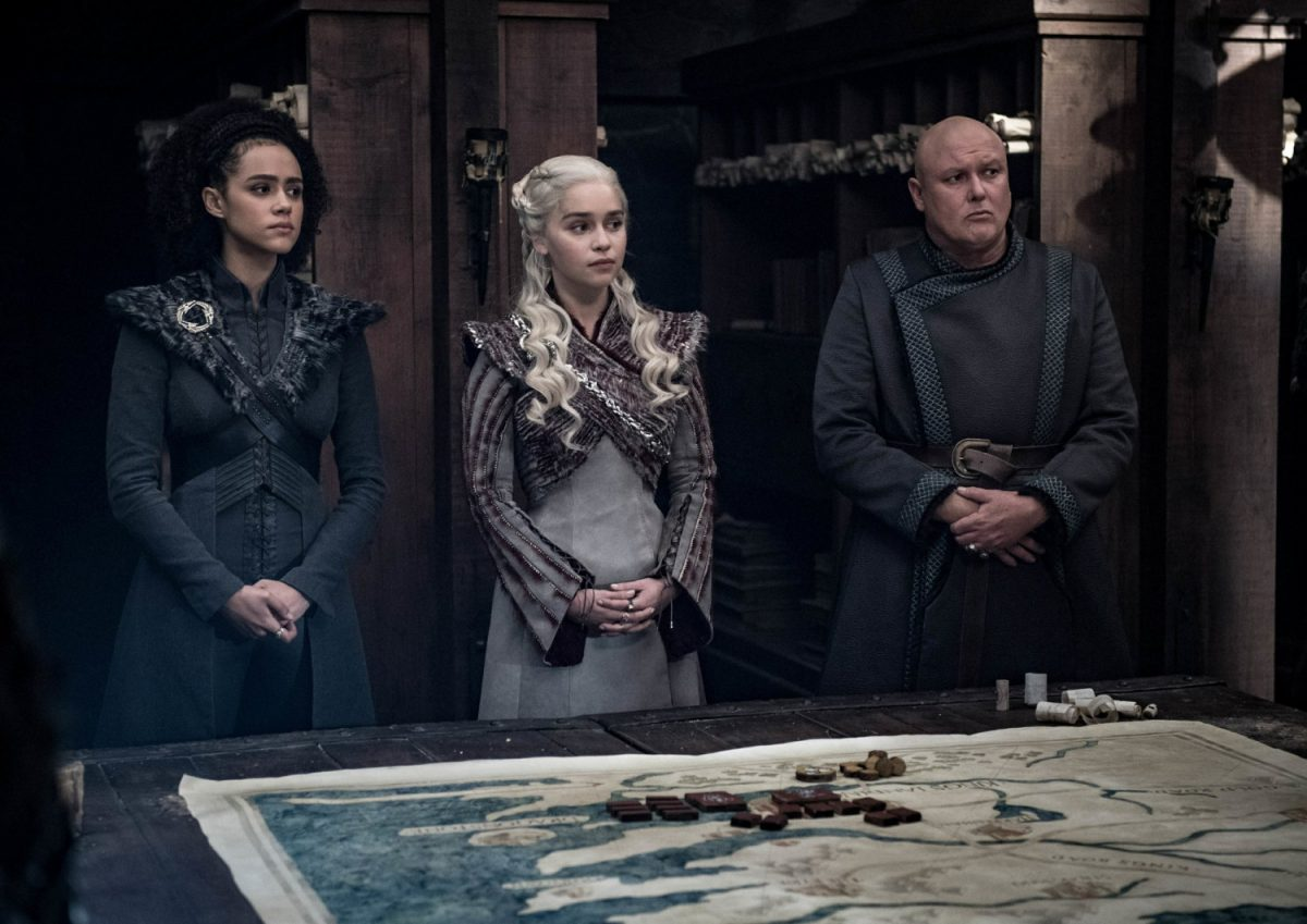 Nathalie Emmanuel, Emilia Clarke and Conleth Hill