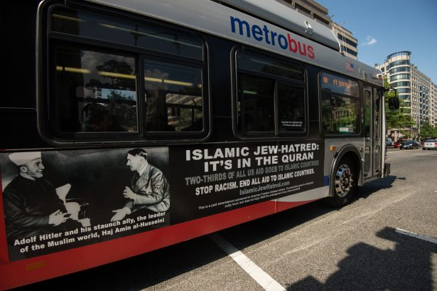 bus shows hitler and palestinian leader
