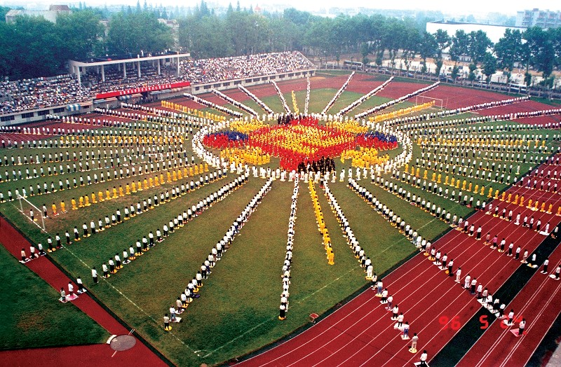Falun Gong practitioners forming the Falun emblem