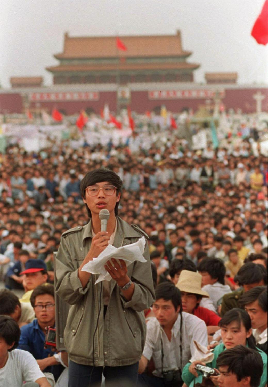 Student leader Wang Dan in Tiananmen Square
