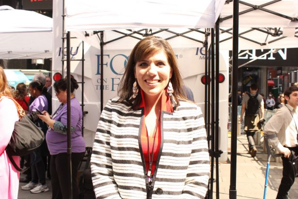 Abortion survivor Melissa Ohden at Alive from New York event at Time Square, New York