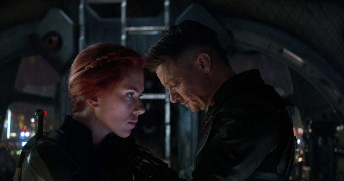 "Scarlett Johansson, left, and Jeremy Renner in a scene from ""Avengers: Endgame."""