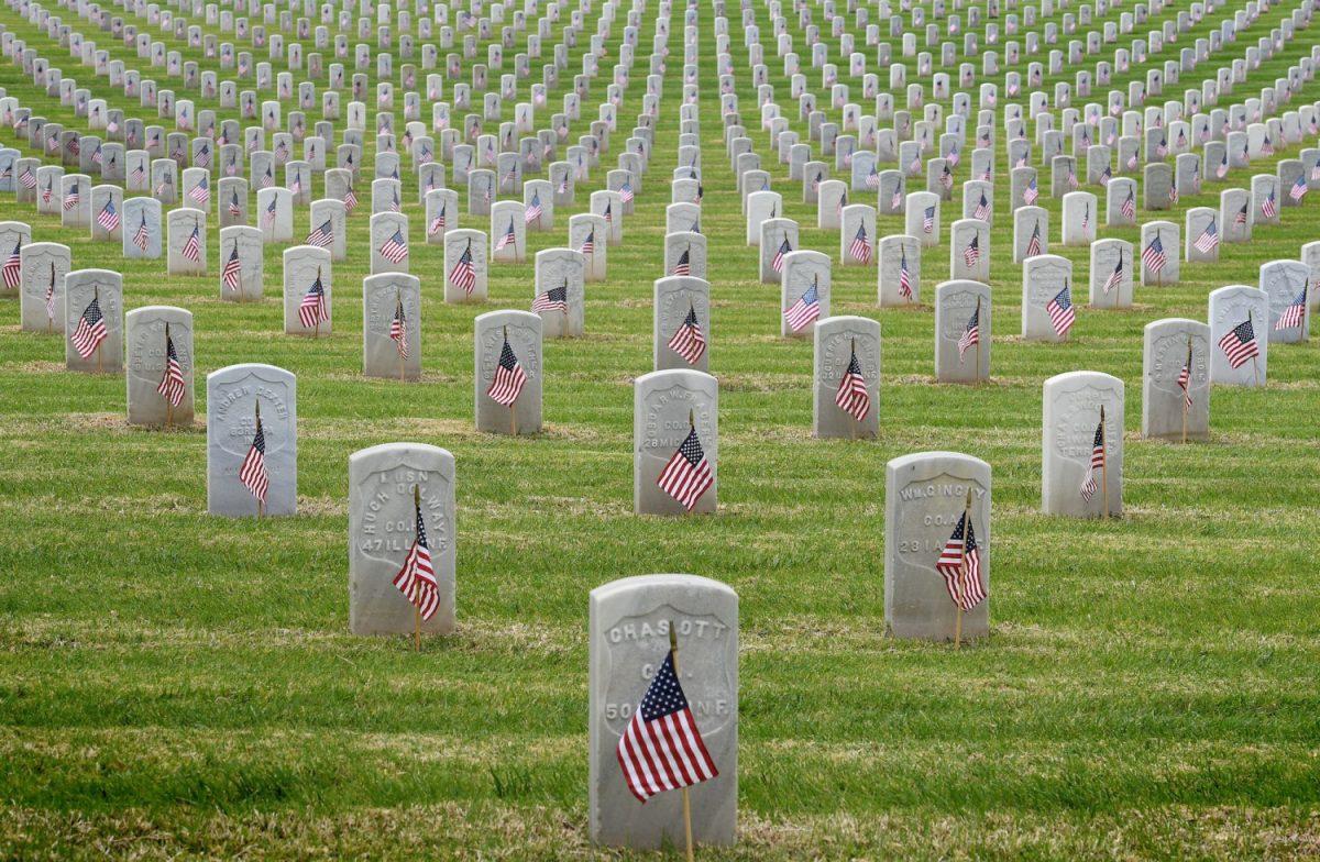 The graves of war veterans