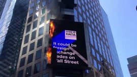 Digital Billboard Catches Fire in Times Square