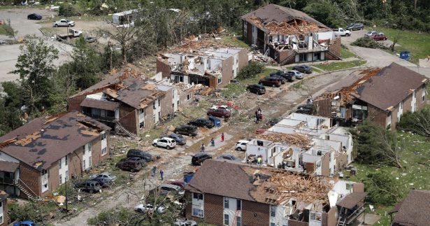 ravaged residential areas