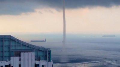 Massive Waterspout Swirls Near Singapore Shore