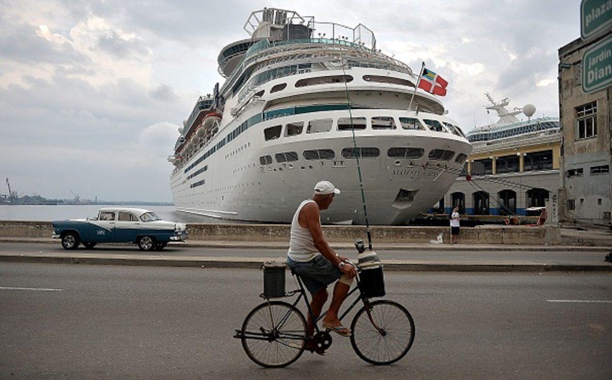 A Royal Caribbean cruise is seen docked at Havana's port
