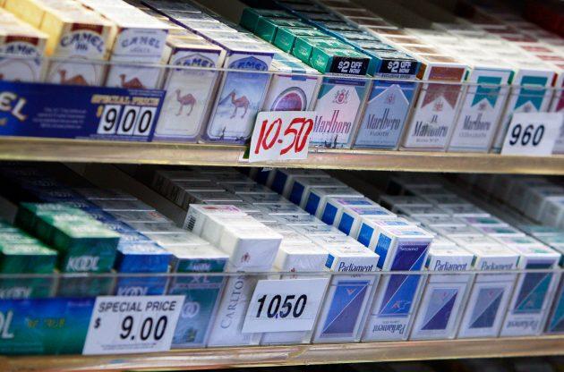 Cigarette packs on display